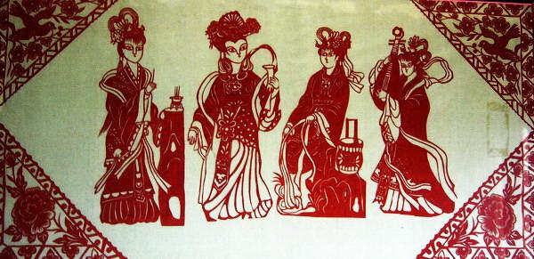 四大美女剪纸图案_bwzk